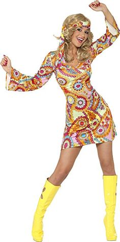 Smiffy's Adult Women's 1960's Hippie Costume, Dress and Headband, 60's Groovy Baby, Serious Fun, Size: S, 34060