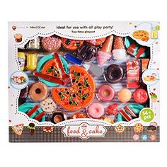 Acefun Kids Plastic Play Food Set Pretend Play Food and Drink Toys with Pizza Tea Party Playset (54 Pieces) ** You can get additional details at the image link.