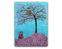 Spring Lovebirds Owls Cherry Blossoms Love is in the by RawFolkArt