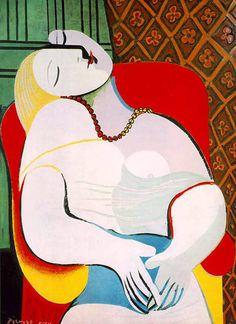 El sueño – (1932) – Pablo Picasso – Le Réve o la modelo Marie-Thérèse Walter. El sueño es un cuadro del pintor español Pablo Picasso pintado en 1932. Está hecho mediante la técnica del óleo sobre lienzo y es de estilo cubista. El cuadro, cuyas medidas son 130 x 97 cm, representa a una mujer que yace dormida, con los brazos doblados, la cabeza ladeada y los senos al descubierto. La modelo del cuadro es Marie-Thérèse Walter.