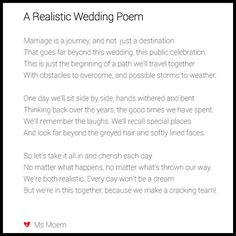 realistic wedding poem written by english poet, ms moem  for more wedding poems, check our her youtube channel, poetry blog, instagram and facebook.