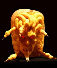 Spook Your Trick-Or-Treaters This Halloween With ==> Pumpkin Carving <== Lessons. Ray Villafane Extreme Pumpkin Carving DVD Tutorials Is A Great Source Awesome Pumpkin Carvings, Scary Pumpkin Carving, Pumpkin Art, Pumpkin Ideas, Pumpkin Painting, Food Carving, Pumpkin Crafts, Pumpkin Spice, Halloween Pumpkin Designs
