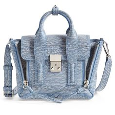 Women's 3.1 Phillip Lim 'Mini Pashli' Leather Satchel (25,400 THB) ❤ liked on Polyvore featuring bags, handbags, mini satchel, mini leather handbags, blue satchel handbags, genuine leather purse and real leather handbags