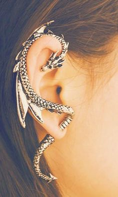 Dragon ear cuff. i would actually wear these. all the time.