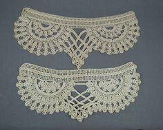 2 Vintage Lace Dress Trims, Antique Victorian or Edwardian Crochet Lace Dress Decorations 15x5 inches by dandelionvintage on Etsy