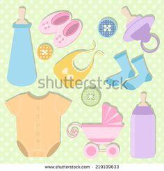Set Of Baby Shower Element Stock Vector