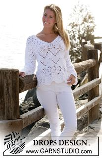 """Free knitting pattern for lace pullover knit in the round DROPS sweater with V-neck and lace pattern in """"Paris"""" ~ DROPS Design Summer Knitting, Free Knitting, Sweater Knitting Patterns, Knitting Designs, Knit Cardigan Pattern, Drops Design, Knitted Coat, Sweater Making, Lace Patterns"""