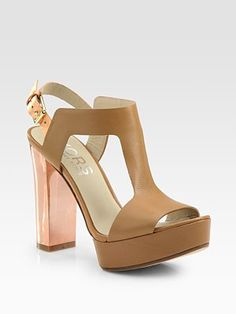 Kors Michael Kors Vernon Leather T-Strap Platform Sandals