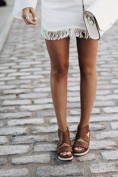 white fringe skirt & platform sandals