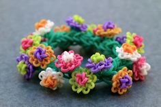Waterlily Bracelet made on the Rainbow MonsterTail Loom.