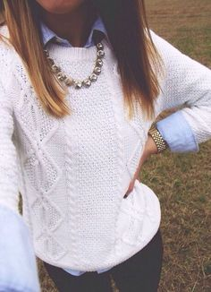 denim shirt under white cable knit, silver jewelry