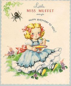 Little Miss Muffet --. front cover with main image of the nursery rhyme, sketched, shading and cross-hatching to add detail