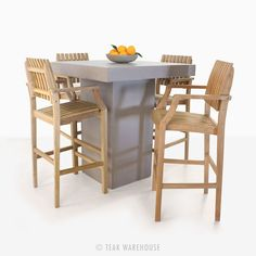 Concrete Bar Table and 4 Toscana Arm Bar Chairs Set - Bar Furniture - Dining