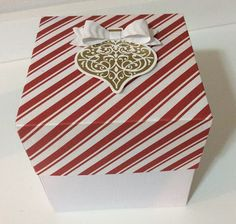 Christmas paper box using the Bow Builder Punch and the  Ornament keepsakes stamp set by Stampin' UP.