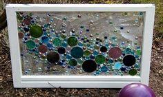 This Garden Glass Window is called 'Bubbles'. by Xarej Broken Glass Art, Sea Glass Art, Glass Wall Art, Faux Stained Glass, Stained Glass Projects, Mosaic Art, Mosaic Glass, Fused Glass, Window Art