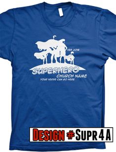 Superhero VBS t-shirts.  We offer FREE shipping on all VBS orders.  All shirts are designed to be customized for your VBS program- choose shirt color, design colors, church name, tag line and/or verse.