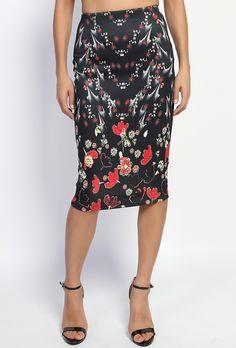 $20.00 - Red Floral High Waist Pencil Midi Skirt