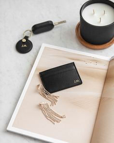 Create your own. Add a monogram to each product. photo: by Create Yourself, Create Your Own, Card Holder, Drop Earrings, Jewelry, Minimalist Design, Monogram, Recyle, Leather