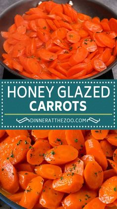 These honey glazed carrots are sliced carrots simmered with honey and butter until tender. A super easy side dish that pairs well with a variety of main course options including chicken, beef and seafood.