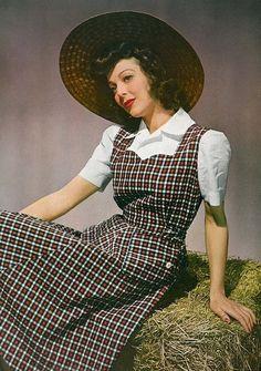 vintage plaid pinafore style undershirt blouse puff sleeves plaid brown black  1940s dress | large sun straw hat | vintage 40s fashion blouse