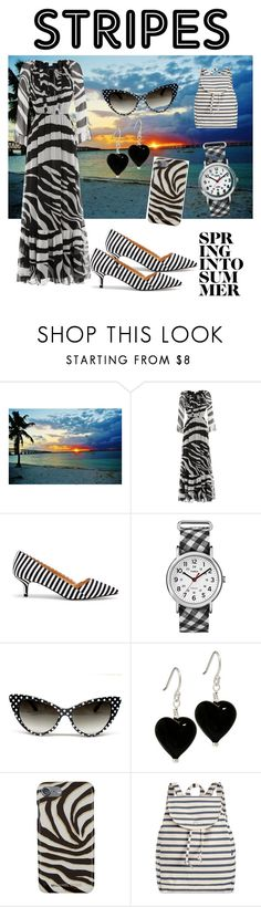 """Sunset with Stripes on!!!!!!!!!!!!!!!"" by rumaisa-hadia ❤ liked on Polyvore featuring Diane Von Furstenberg, Sole Society, Timex, Michael Kors, BAGGU and my"