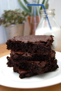 Vegan brownies + almond milk. perfection. From kitch+table!!