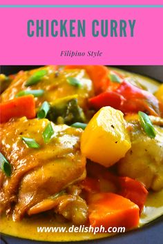 Check out this chicken curry Filipino Style recipe by Delish PH. Chicken Curry Filipino Style Recipe, Chicken Recipes Filipino, Pork Curry Recipe, Easy Chicken Curry, Curry Recipes, Easy Chicken Recipes, How To Cook Chicken, Indian Food Recipes, Asian Recipes