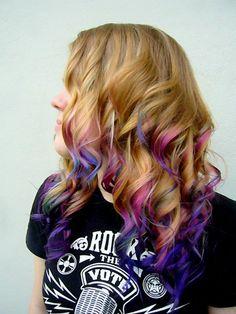 Dip dye colored, pink, fuschia, purple, blue, indigo hair.