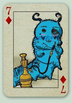 Carta - Alice no País das Maravilhas - Lagarta Azul