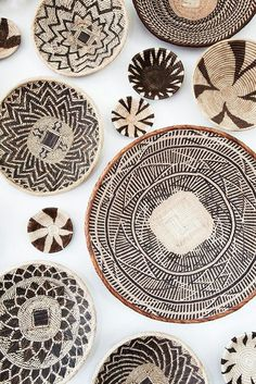 African basket wall art installation created from baskets I gathered in Zambia, South Africa, Namibia, and Botswana- inspo 4 ceramics Deco Boheme, African Design, African Interior Design, Baskets On Wall, Wall Basket, Woven Baskets, Home And Deco, Handmade Home, Wicker