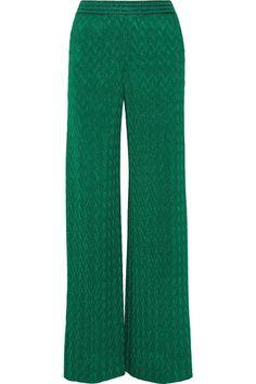 MISSONI Metallic Crochet-Knit Wide-Leg Pants. #missoni #cloth #pants