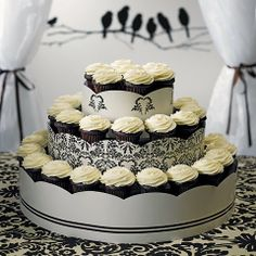 Black & White three Tiered Cupcake Display Tower for weddings and parties.