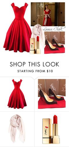 """""""Louisa Clark"""" by stylewiktoria ❤ liked on Polyvore featuring Christian Louboutin, Nordstrom and Yves Saint Laurent"""