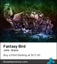 Digital fractal abstract image that looks like a fantasy bird.