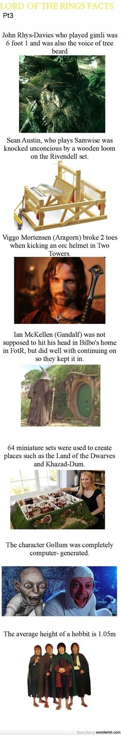 10 years I've watched these movies & I did not know the scene of Gandalf hitting his head in Bag End was not scripted.