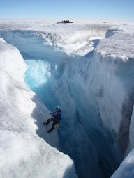 Active moulin on Russell Glacier, Greenland (by Henry Patton).