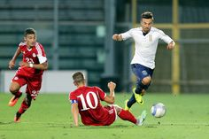Federico Di Francesco of Itay U21 in action during the UEFA European U21 Championships Qualifier match between Italy U21 and Andorra U21 at Stadio Alberto Picco on September 5, 2016 in La Spezia, Italy.