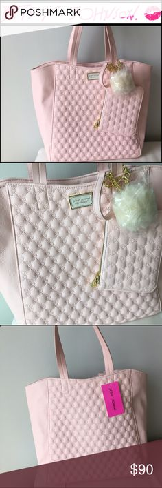 BETSEY JOHNSON 2 IN 1 PINK TOTE & WRISTLET Brand new!100% AUTHENTIC and Brand New with Tag!   Gorgeous purse by Betsey Johnson. Comes from smoke-free, pet-free, and dust-free environment.       Betsey Johnson Tote + Zipped Pouch     Style: 2 in 1   Color: Blush       Dimension:   16 in (Width) x 13 in (Height) x 6 in (Depth)  or  41 Cm x 33 Cm x 15 Cm  Handles are 9 inches drop (23 cm). Fit shoulders comfortably.      Bag Features:  ·        Material: faux leather. Goldtone hardware. ·…