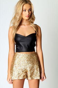 Gold Sequin Shorts www.boohoo.com
