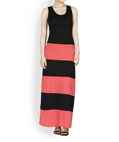 42POPS Coral & Black Color Block Sleeveless Maxi Dress by 42POPS #zulily #zulilyfinds