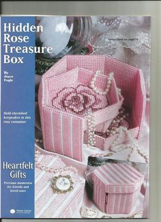 Hidden Rose Treasure Box 1 of 3 Plastic Canvas Ornaments, Plastic Canvas Christmas, Plastic Canvas Crafts, Plastic Canvas Patterns, Maya, Types Of Craft, Diy Canvas, Craft Sale, Tissue Boxes