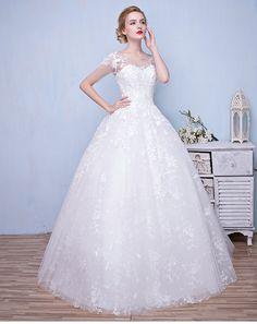 2016 new bride wedding dress Korean word shoulder wedding Qi minimalist shoulder wedding princess was thin summer Lynx -tmall.com