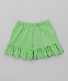 Look what I found on #zulily! Lime Green Ruffle Shorts - Toddler & Girls #zulilyfinds