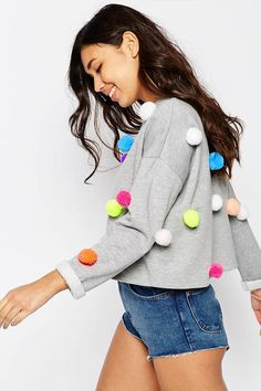 Buy ASOS Multi Pom Pom Sweatshirt at ASOS. Get the latest trends with ASOS now. Style Funky, My Style, Moda Funky, Asos Sweatshirt, How To Make A Pom Pom, Sweaters For Women, T Shirts For Women, Funky Fashion, Bunt