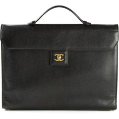Chanel Vintage Logo Plaque Briefcase ($3,198) ❤ liked on Polyvore featuring bags, briefcases, briefcase, chanel and black