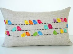 Sukan / Color Birds Pillows - Designer Pillow - Raw Linen PIllow - Decorative Throw Pillows - Cushion Covers - Lumbar Pillow Cover Do this design in canvas curtains Funny Pillows, Cute Pillows, Diy Pillows, Linen Pillows, Decorative Pillows, Throw Pillows, Pillow Crafts, Lumbar Pillow, Pillow Ideas