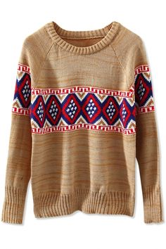 Tribal Print Geo Print Long-Sleeves Knit Sweater