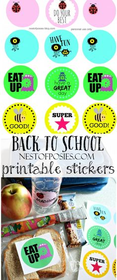 Back to school lunchbox and school supply printables or stickers!