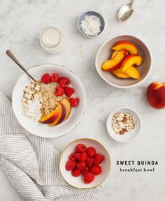 Cinnamon Quinoa Breakfast Bowl - Take a break from your oatmeal routine and make this sweet quinoa breakfast bowl with almond milk, cinnamon, coconut and seasonal fruit! Vegan and Gluten free.