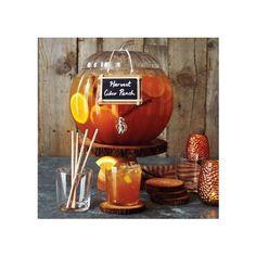 Pumpkin Beverage Dispenser ($25) ❤ liked on Polyvore featuring home, kitchen & dining, serveware, beverage dispenser, plastic serveware, drink server, sur la table and plastic beverage dispenser